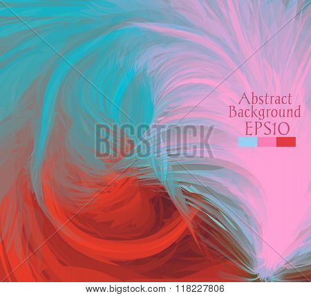 Macro Feathers. Turquoise, Pink, Red.