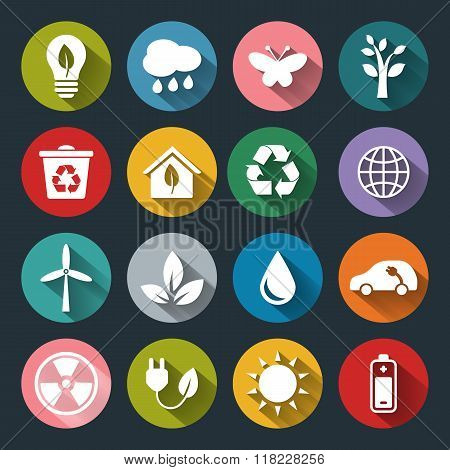 Set Of Vector Eco Icons In Flat Style