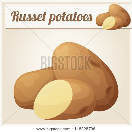 Russet potatoes. Detailed Vector Icon