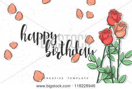 Design postcard with roses and calligraphy congratulation in sketch style