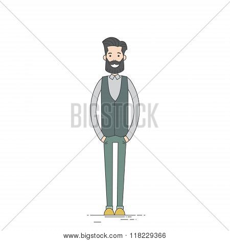 Young Man Hipster Casual Clothes Full Length