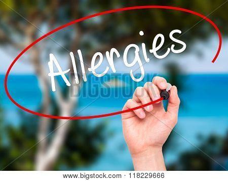 Man Hand Writing Allergies With Black Marker On Visual Screen