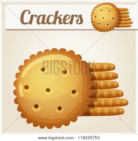 Cracker cookies. Detailed Vector Icon