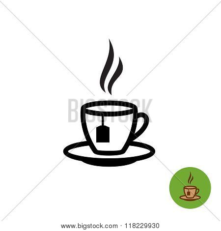Tea Cup Black Outline Silhouette With Teabag And Fume Logo Icon.