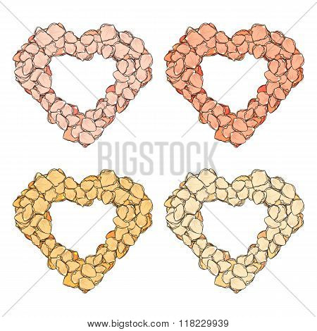 Set Isolated heart of rose petals handmade in sketch style