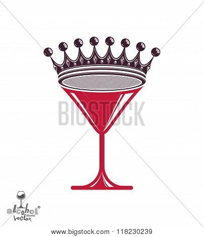 Martini glass with royal crown, stylized goblet. Queen of the evening conceptual illustration celebration idea.