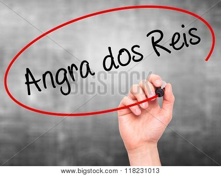 Man Hand Writing Angra Dos Reis With Black Marker On Visual Screen