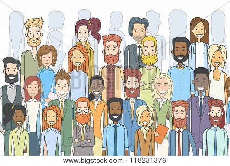 Group of Business People Face Big Crowd Businesspeople Diverse Ethnic