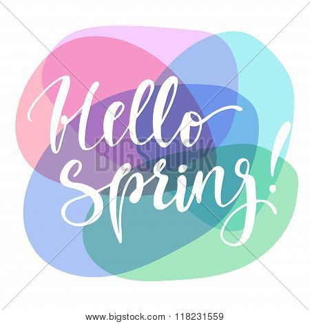 Hello Spring Colorful Poster.