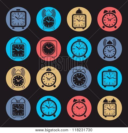 Simple alarm clocks with clock bell vector wake up icons collection. Graphic design elements time idea.