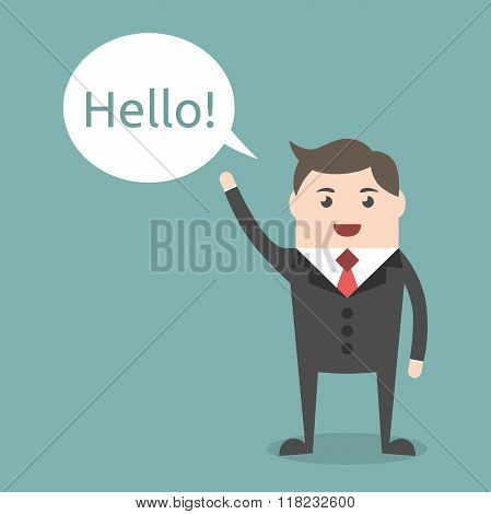 Businessman Character Saying Hello