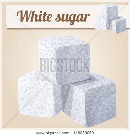 White sugar. Detailed Vector Icon