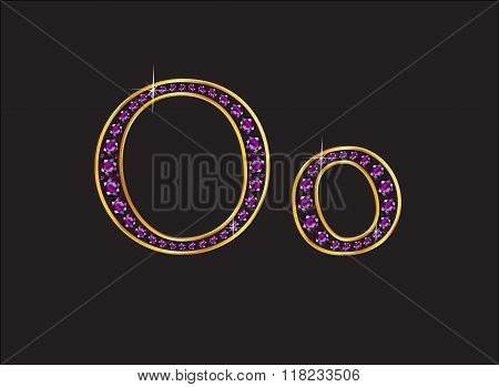 Oo Amethyst Jeweled Font With Gold Channels