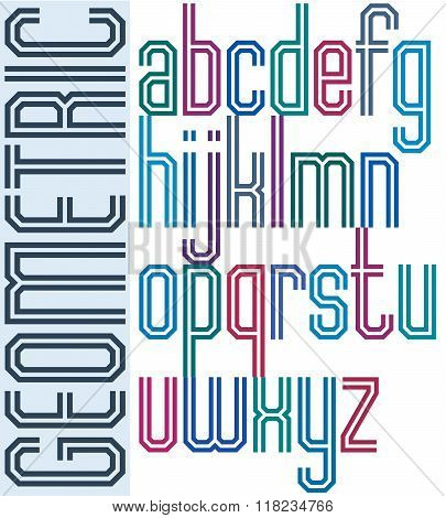 Retro colorful font with lines geometric poster letters.
