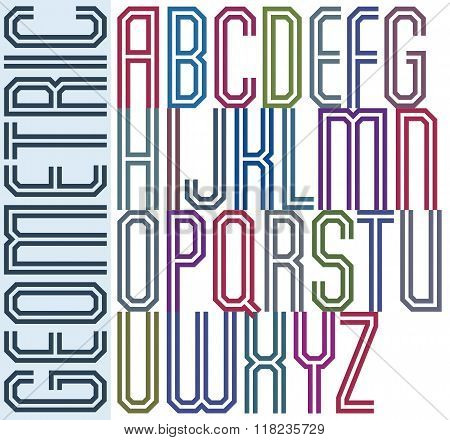 Poster retro colorful geometric font with double parallel lines.