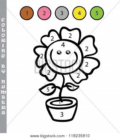 Coloring by numbers flower
