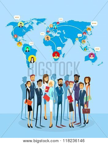 Business People Group Social Network Communication Concept World Map Coworking