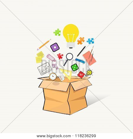 Box Open Different Stationery Writing Materials Hand Draw