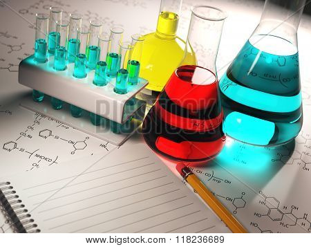 Science chemistry concept. Laboratory test tubes and flasks with colored liquids. 3d