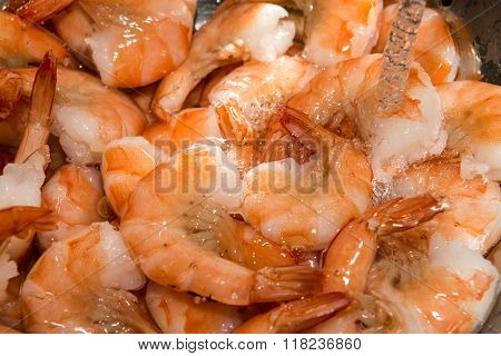 Rinsing Cooked Shrimp In Sink With Water