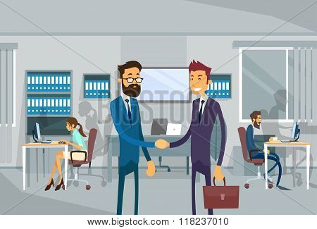 Two Businessman Shake Hand, Business Man Stand In Office Agreement Concept