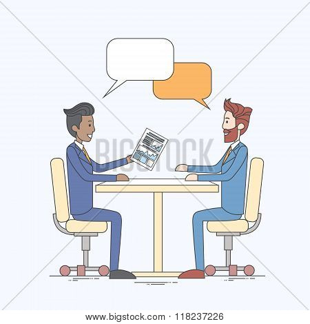 Two Business Man Talking Discussing Chat Box Bubble Communication Sitting at Office Desk
