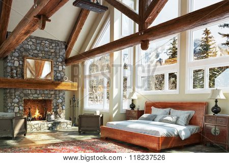 Luxurious open floor cabin interior bedroom design with roaring fireplace and winter scenic backgrou