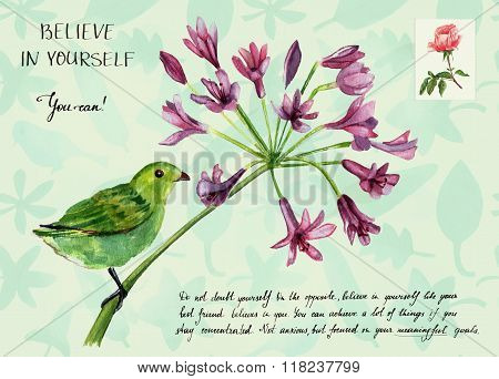 'Believe in yourself' motivational greeting card with green bird on branch of purple flowers