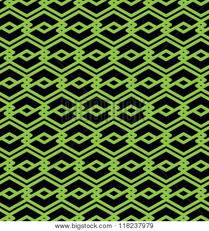 Black and green abstract seamless pattern with interweave lines. Vector ornament. Endless decorative background visual effect geometric tracery with rhombs.