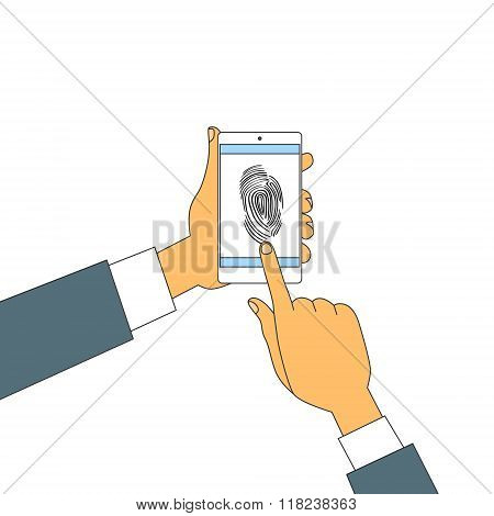 Finger Print Smart Phone Access Lock, Business Man Touch Screen Fingerprint Hands Scan Security