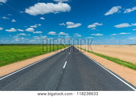 Empty Road On Either Side Cultivated Fields