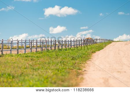 Wooden Fence On A Ranch In A Beautiful Location