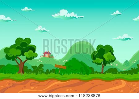 Endless Village Background, Seamless Cartoon Landscape
