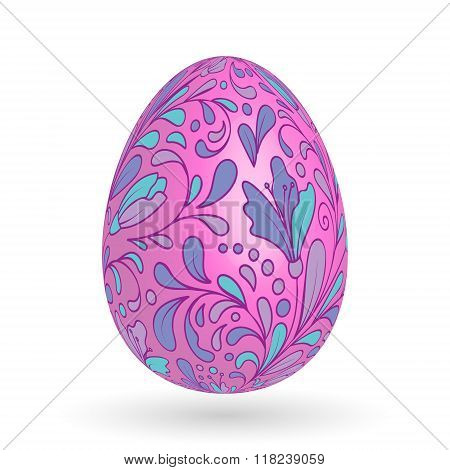 Colorful easter egg with ornate doodle floral decoration. Colorful floral pattern on lilac egg.