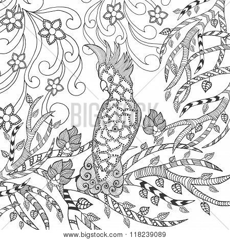 Cute cockatoo coloring page.