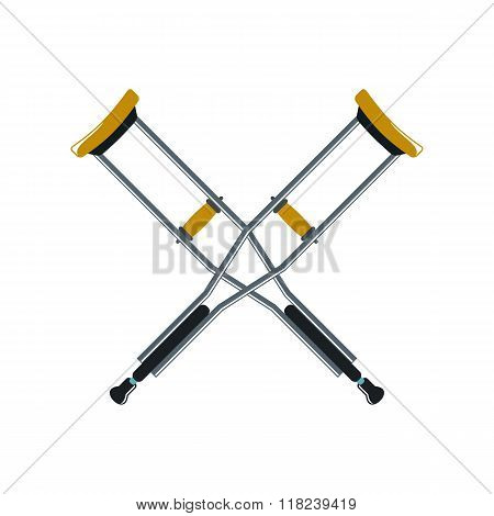 Crutch Cartoon Icon Isolated On White Background