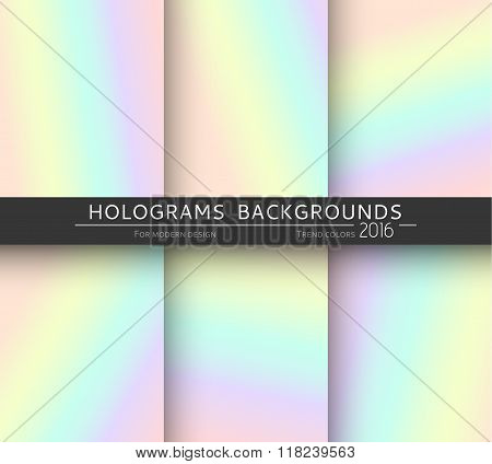 Set 6 realistic holographic backgrounds in different colors for design
