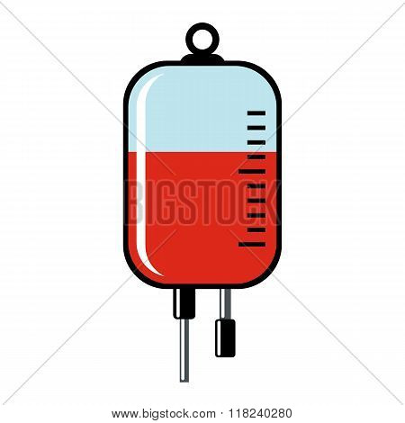 Blood Transfusion Cartoon Icon Isolated On White Background