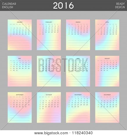 Modern calendar 2016 with colorful hologram in English