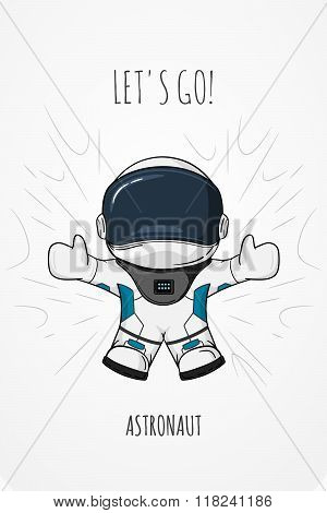 Hand Drawn Cartoon Vector Illustration Astronaut In Spacesuit Who Drop And Flies. Concept Zero Gravi