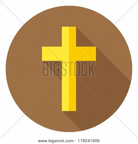 The Christian Cross Circle Icon With Long Shadow