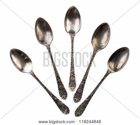 Five antique teaspoons