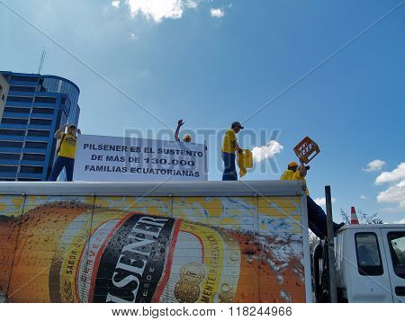 Demonstration Against The Closure Of The Brewing Pilsener Plant