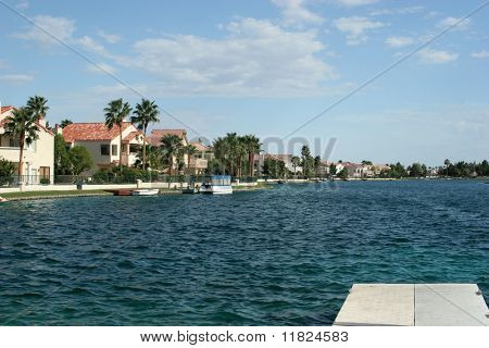 Upscale lake homes and dock