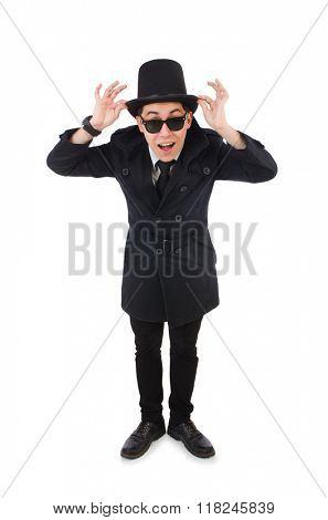 Young detective in black coat isolated on white