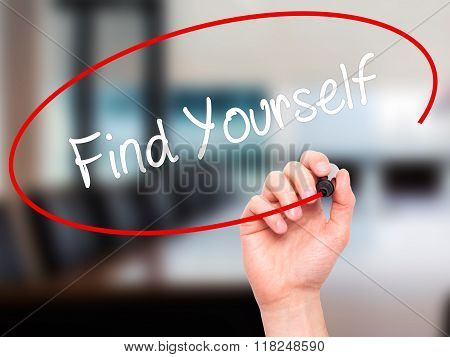 Man Hand Writing Find Yourself With Black Marker On Visual Screen