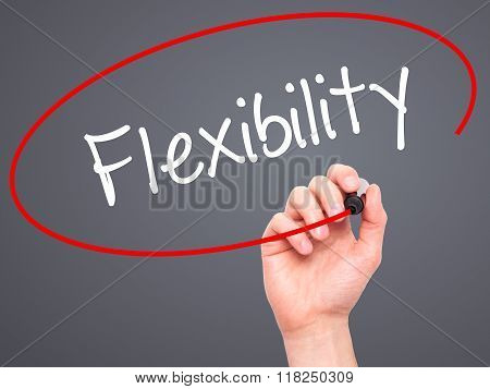 Man Hand Writing Flexibility With Black Marker On Visual Screen