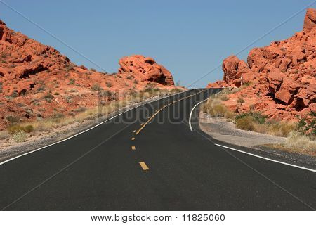 Winding desert highway