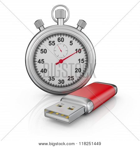 Usb Drive And Stopwatch