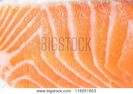 Macro Close Up Of Fresh Salmon Flesh.